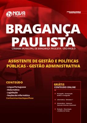 Apostila Câmara de Bragança Paulista 2020 Assistente de Gestão e Políticas Públicas Gestão Administrativa Grátis Cursos Online