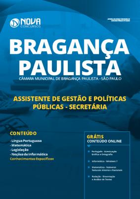 Apostila Concurso Câmara de Bragança Paulista 2019 Assistente de Gestão e Políticas Públicas Gestão Secretária Grátis Cursos Online