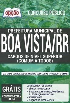 Apostila Concurso Prefeitura de Boa Vista 2019 Cargos de Nível Superior PDF e Impressa