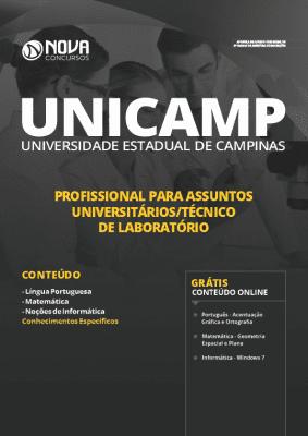 Apostila Concurso UNICAMP 2019 Profissional para Assuntos Universitários Técnico de Laboratório Grátis Cursos Online
