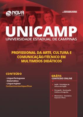 Apostila Concurso UNICAMP 2020 Profissional da Arte, Cultura e Comunicação Técnico em Multimeios Didáticos Grátis Cursos Online