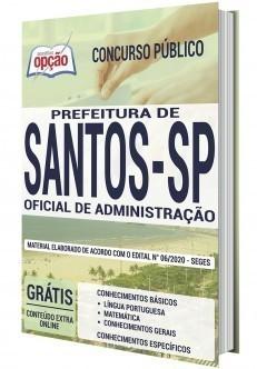 Apostila Prefeitura de Santos 2020 PDF Oficial de Administração