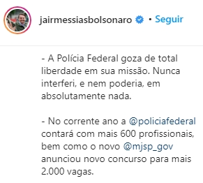 Presidente Jair Bolsonaro confirma concurso PF da polícia federal 2020