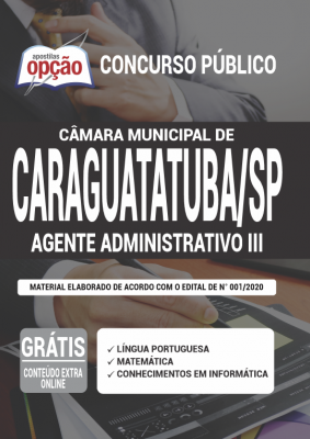Apostila Concurso Câmara de Caraguatatuba SP 2020 PDF Download Digital Cargo Assistente Administrativo III