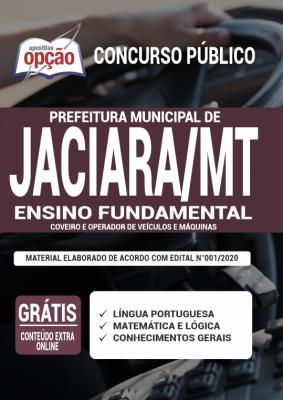 Apostila Prefeitura de Jaciara 2020 PDF Download Cargos de Coveiro e Operador de Veículos e Máquinas