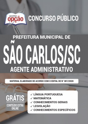 Apostila Prefeitura de São Carlos SC 2020 PDF Download Digital Cargo Agente Administrativo