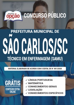 Apostila Prefeitura de São Carlos SC 2020 PDF e Impressa Cargo Técnico em Enfermagem