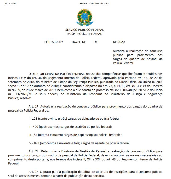 Documento oficial de autorização de Novo Concurso PF 2021
