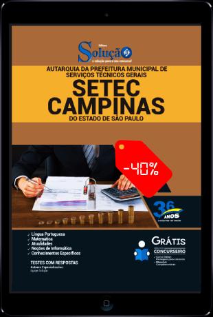 Apostila Setec Campinas 2021 PDF Grátis 40% Desconto